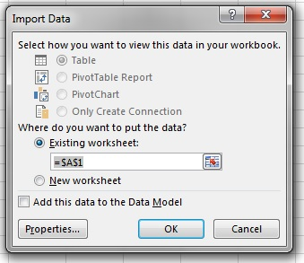Excel Import Data Dialog
