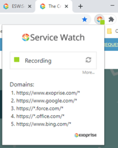 Service Watch Browser Extension Recording Performance Data