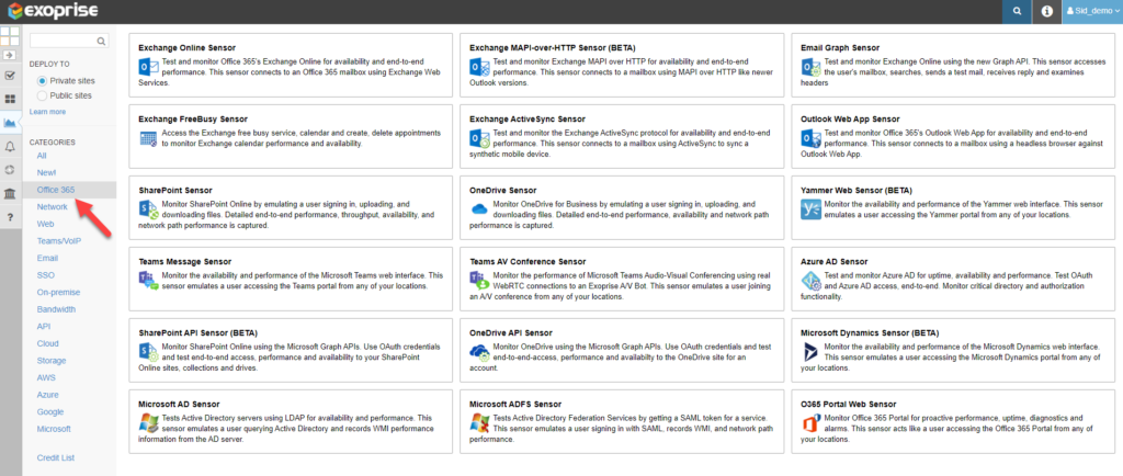 Synthetic monitoring of O365 apps