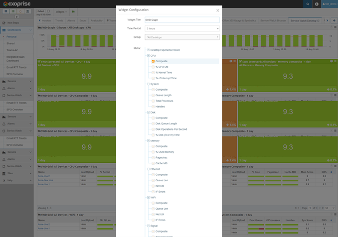Exoprise metrics for desktop experience