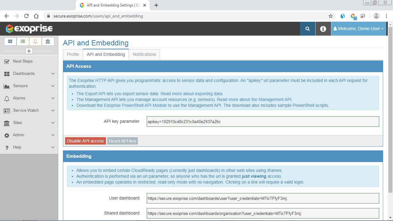API and Embedding settings