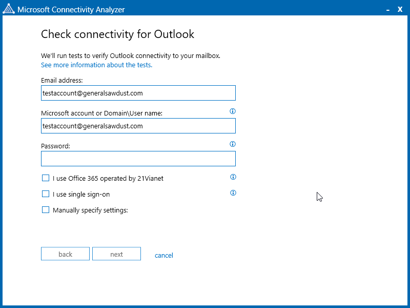 Configure The Microsoft Connectivity Settings For The Account