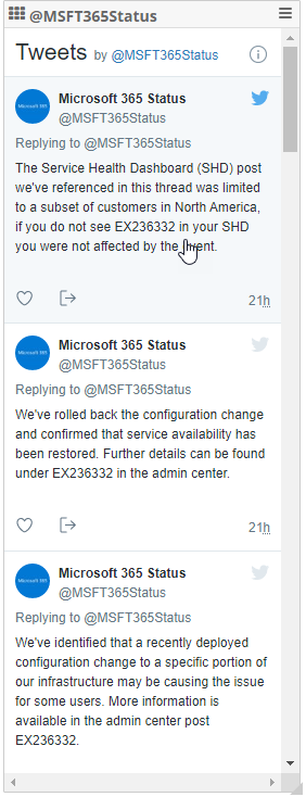 EX236322 Microsoft 365 Status Outage, Exchange And AAD perfomance