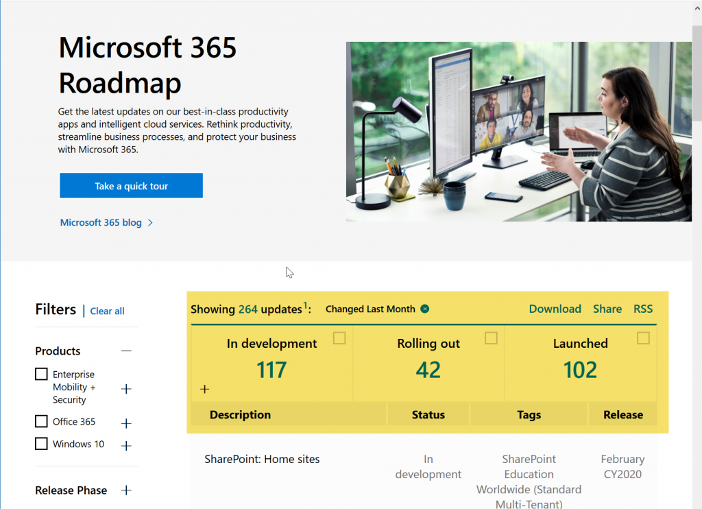 Microsoft 365 Roadmap
