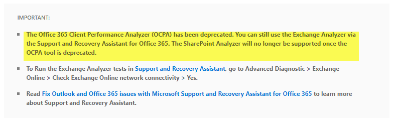 Office 365 Client Performance Analyzer has been deprecated