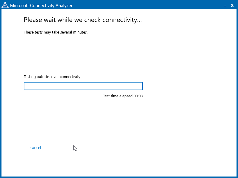 Wait While Microsoft Connectivity Tests Autodiscover And Account Settings