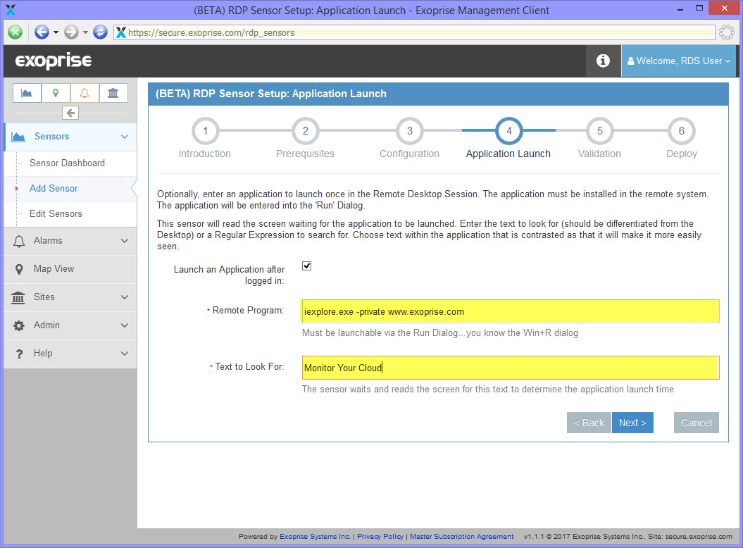 Enter the full path to the remote application to launch as well as what text to look for