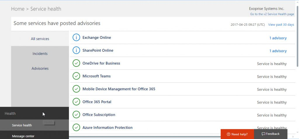 The Office 365 Service Health Dashboard In Action