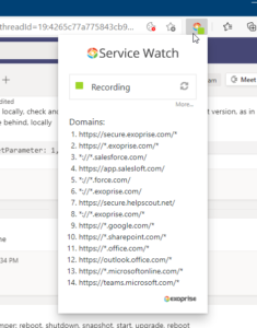 Service Watch Browser Extension Filtered Domains for Office, Teams and Salesforce RUM