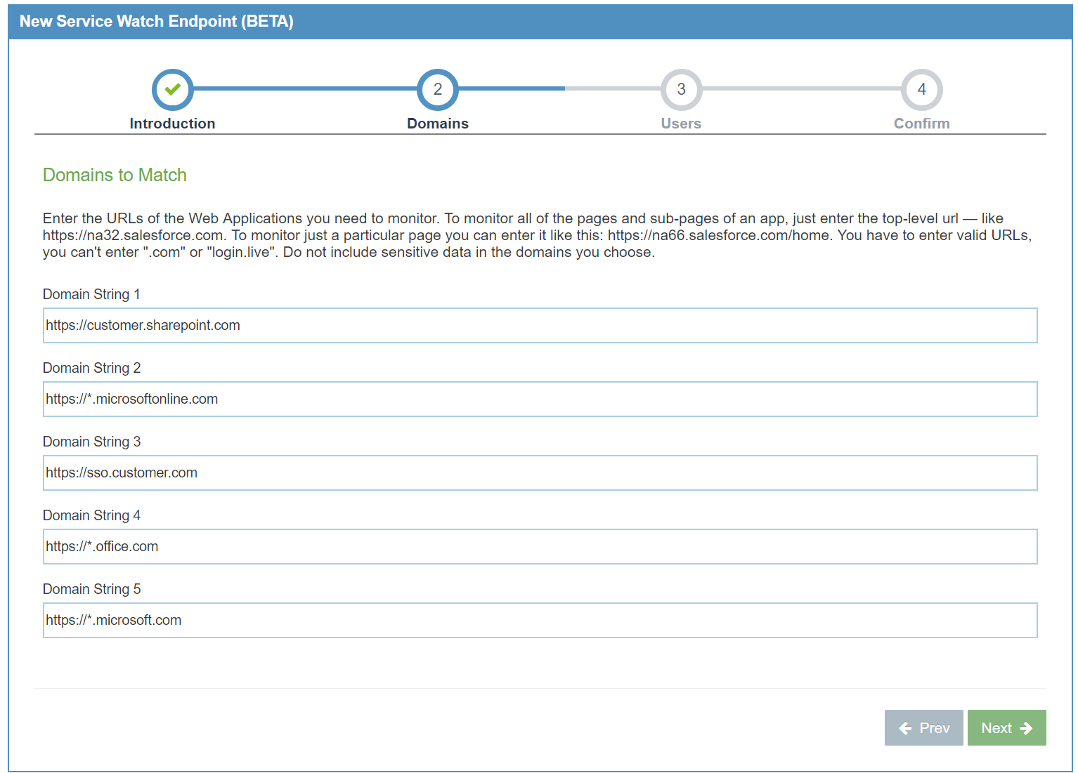 Configure URLs to monitor