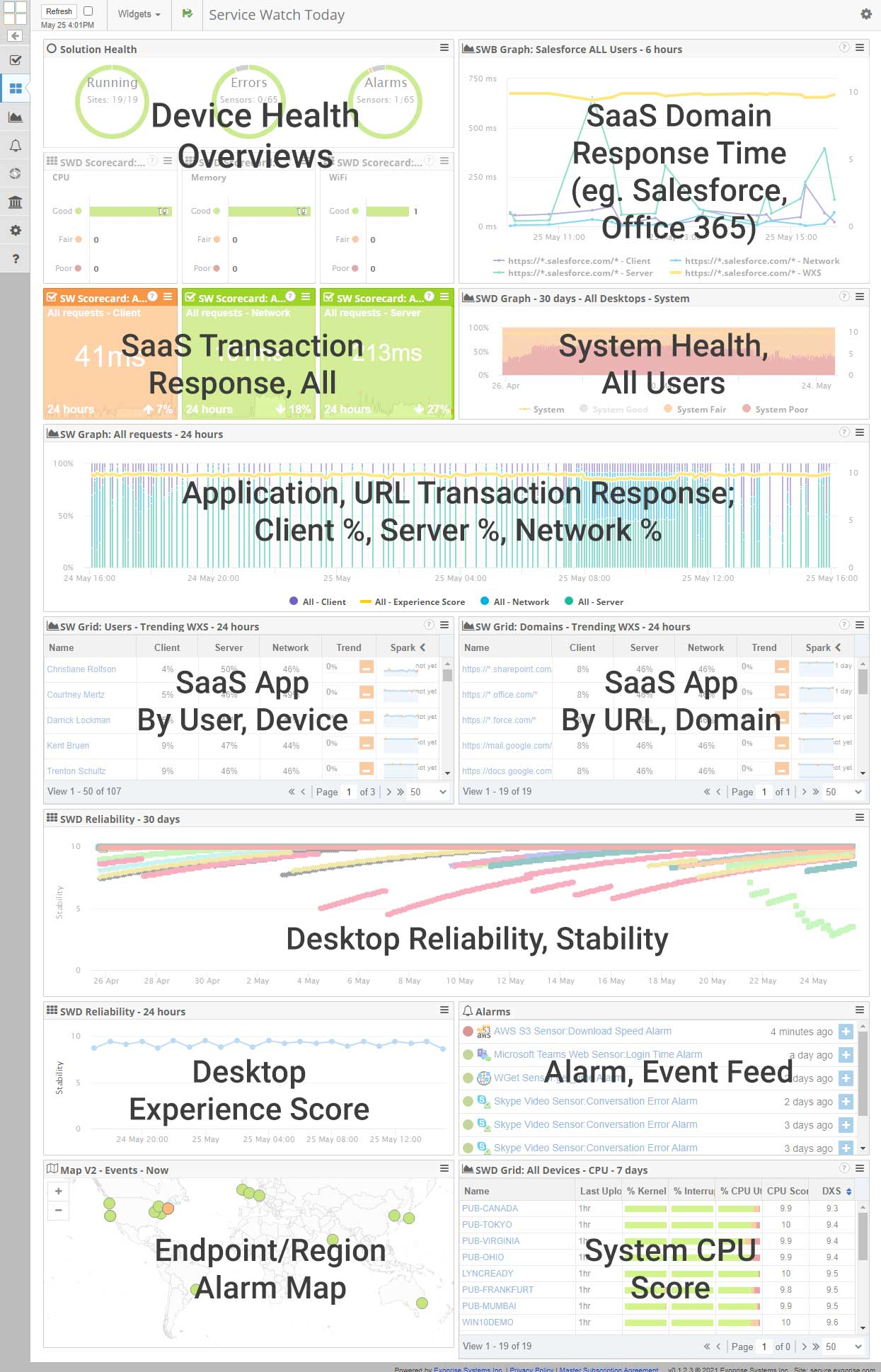 SaaS / Desktop DEM Dashboard
