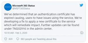 Microsoft Teams SSL Certificate Outage Status