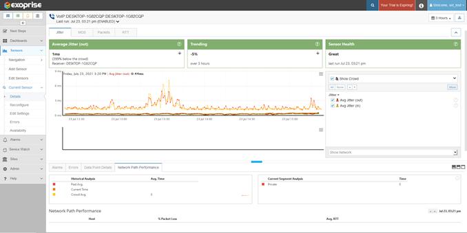 jitter, packet loss, RTT metric monitoring